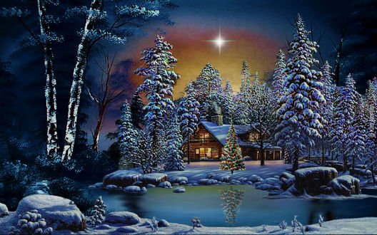 Обои Рождественская звезда над домом, елками и рекой зимой