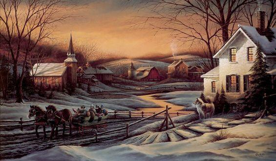 Обои Лошади везут людей зимой в деревне. Собаки смотрят в след