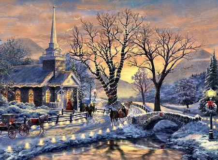 Обои Церковь и деревья возле реки, где гуляют люди и стоят лошади. В ожидании Рождества