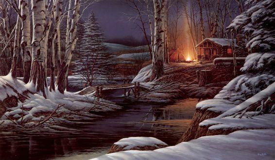 Обои Дом в лесу около реки. Костер