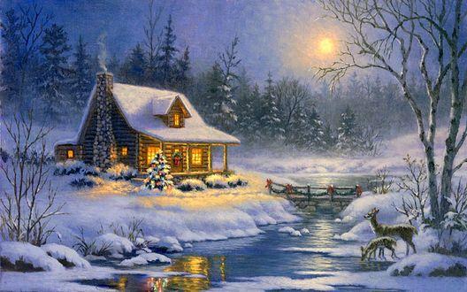 Обои Дом в Рождество у реки и олени