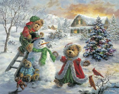 Обои Мишки лепят снеговика возле елки у дома зимой