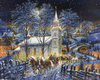 Обои Рождественские гулянья в деревне
