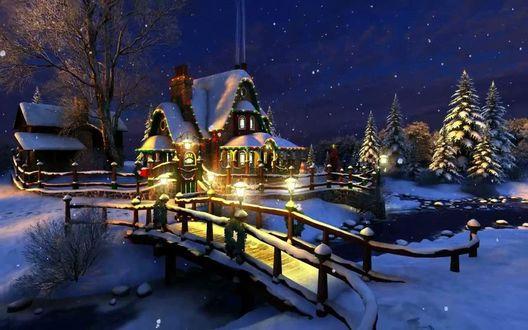 Обои Рождественский дом в огнях среди елок