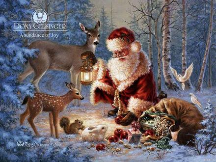 Обои Санта Клаус с оленями разбирает подарки в лесу