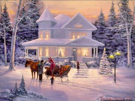 Обои Белый особняк зимой в лесу перед Рождеством