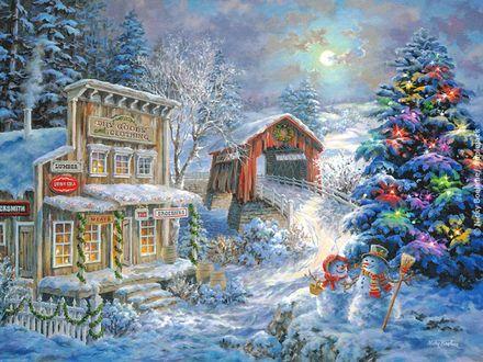 Обои Снеговики с метлой возле рождественской елки и магазина