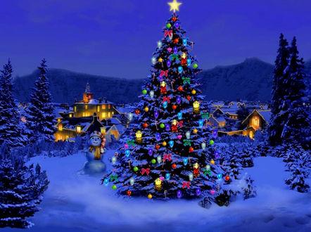 Обои Наряженная елка возле домов в ожидании Рождества