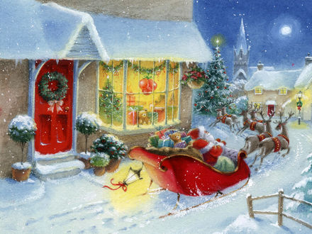Обои Санта на оленях едет под луной мимо магазина с подарками