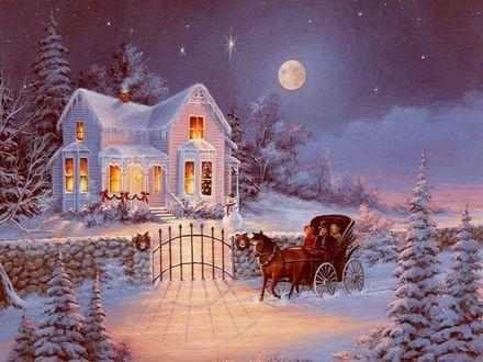 Обои Карета привезла гостей к дому на Рождество