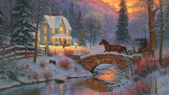 Обои Лошадь везет карету к дому зимой перед Рождеством