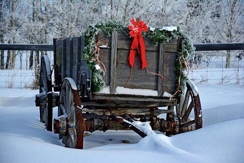 Обои Старая тележка в рождественском украшении рядом с зимней проселочной дорогой, фотограф Frank King