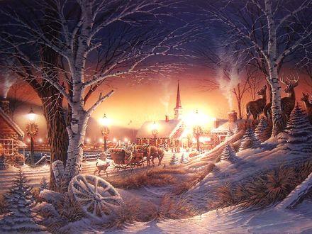 Обои Рождество в деревне