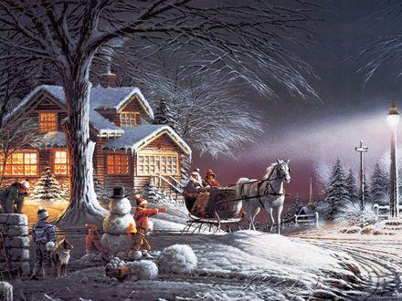 Обои Лошадь везет Деда Мороза и Снегурочку детям не Рождество