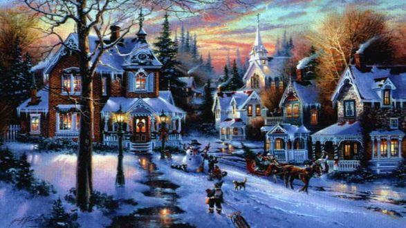 Обои Городок в ожидании Рождества