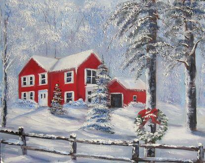 Обои Красный дом в лесу в Рождество