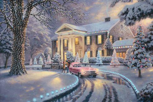 Обои Машина приехала к роддому за семьей в Рождество среди елок и снега