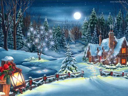 Обои Дома, в окнах которых горит свет, около зимнего леса