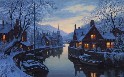 Обои Дома возле реки зимой вечером