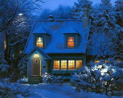 Обои Дом в снегу вечером зимой среди деревьев