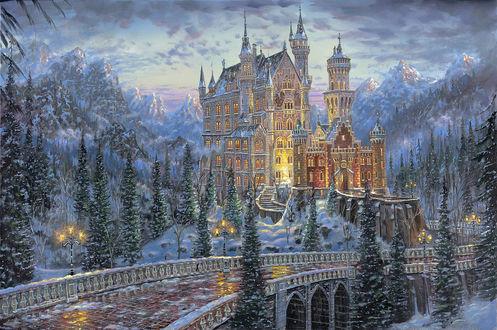 Обои Замок зимой среди гор и леса. Мост и фонари