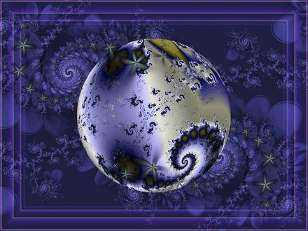 Обои Золотой абстрактный новогодний шарик на феолетовом фоне