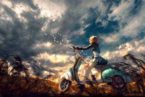 Обои Девушка на мотороллере смотрит на голубей в облачном небе, by yuumei