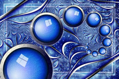 Обои Абстрактный голубой зимний рисунок с эмблемами Windows
