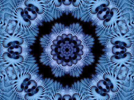 Обои Абстрактные снежинки синего цвета