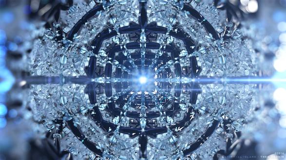 Обои Абстрактная голубая снежинка из стекла