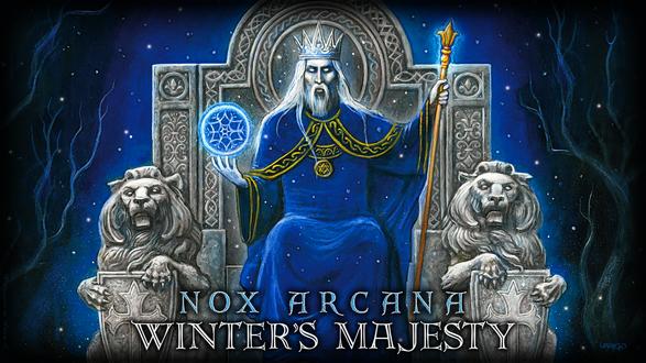 Обои Царь зимы на троне с волшебной снежинкой и посохом в руках