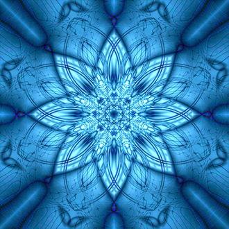 Обои Голубая абстрактная снежинка-цветок