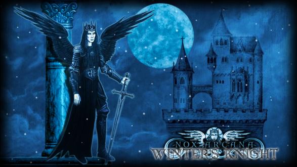 Обои Мужчина - ангел с мечом в руке стоит на фоне замка