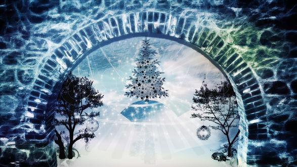 Обои За аркой из кирпичей наряженная елка и деревья
