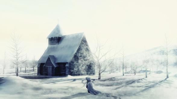 Обои Девушка идет по снегу к дому