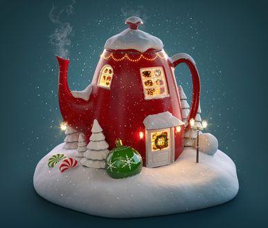 Обои Рождественский сувенир в виде чайника-домика с фонарями, игрушками и елочками в снегу