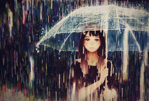 Обои Девушка стоит с зонтом под дождем, by bosaboy07