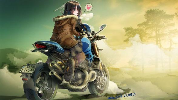 Обои Девушка сидит на мотоцикле Ducati держа шлем в руках, art by azitama atsushi (attyuu)