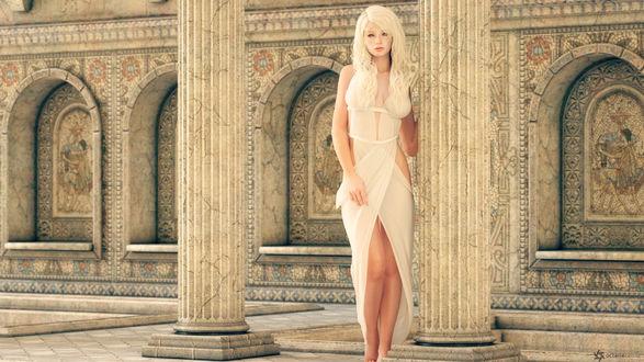 Обои Девушка в белом платье с золотой тиарой на голове, стоит возле колоны, иy haneto