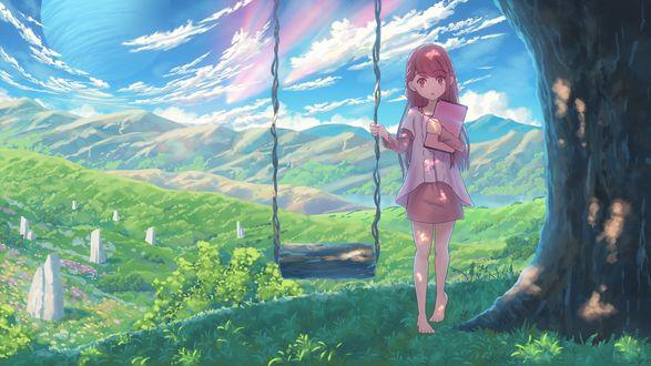 Обои Rin / Рин стоит держа планшет в руке, возле качели, под большим деревом, персонаж из короткого музыкального видео Shelter / Убежище OVA (созданное студией A-1 Pictures в сотрудничестве с американским DJ Porter Robinson, а также французским музыкантом Madeon)
