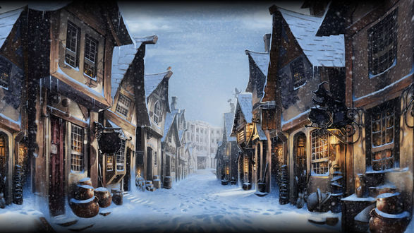Обои Рождество в мире Гарри Поттера. Заснеженная улица
