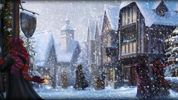 Обои Рождество в волшебном мире Гарри Поттера. Люди и дома под снегопадом