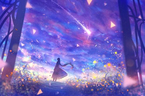Обои Через открытые ворота видна девушка, стоящая на тропинке среди цветов, by bounin
