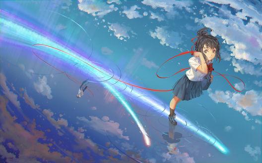 Обои Мицуха Миямизу / Miyamizu Mitsuha и Таки Татибана / Tachibana Taki из аниме Твое имя / Your Name. / Kimi no Na wa, by RA