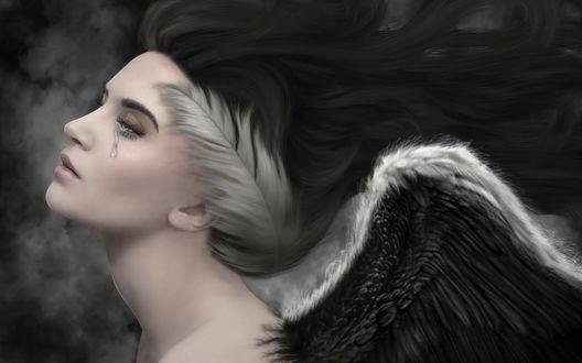 Обои Печальная девушка-ангел в профиль