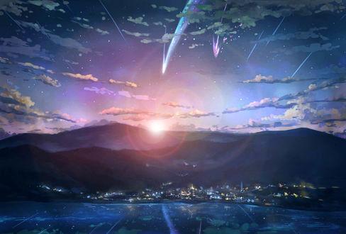Обои Комета, разделившаяся на две части, в закатном небе над городом, арт по аниме Твое имя / Your Name / Kimi no Na wa, by 锦筠Rex