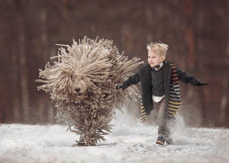 Обои Мальчик со своей собакой бегут по снегу, фотограф Андрей Селиверстов