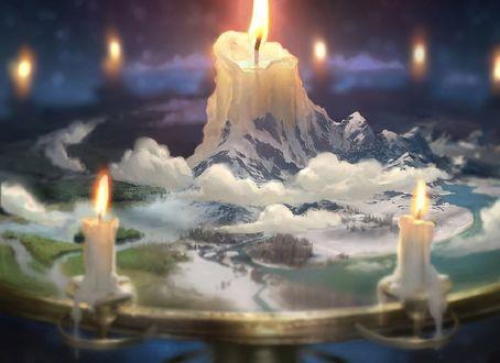 Обои Горящие свечи, by Clint Cearley