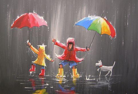 Обои Дети с зонтами и собачка под дождем