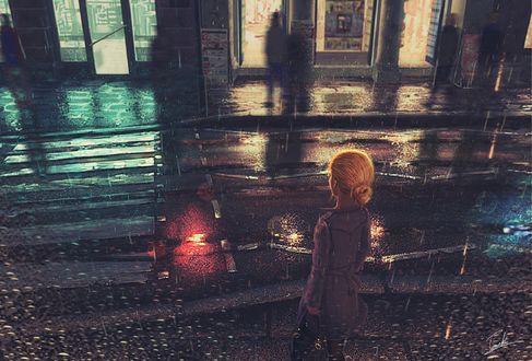 Обои Девушка стоит на дождливой улице